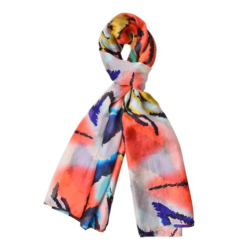 One Time Deal-Designer Inspired 100% Mulberry Silk Orange, Off White and Multi Colour Abstract Print