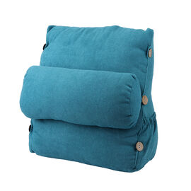 Three Dimensional Triangle Cushion with Round Pillow (Size 45x45x20 cm) - Teal Blue