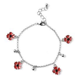 Poppy Design Red and Black Enamelled Poppy Flower Bracelet 7.5 with 1 inch Extender