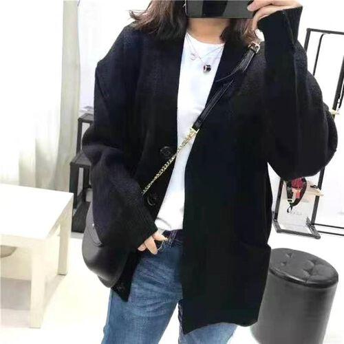 Kris Ana V Neck Cardigan in Black - One Size (8-16)