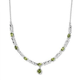 Natural Hebei Peridot Necklace (Size 20) in Sterling Silver 3.99 Ct, Silver wt 6.29 Gms