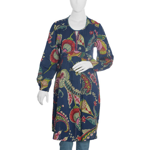Navy Blue and Multi Colour Floral Pattern Embellished Dress (Size XL 99.06x52.07 Cm)