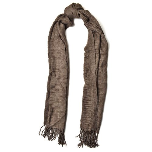 Dark Grey Colour Scarf with Fringes (Size 200x60 Cm)