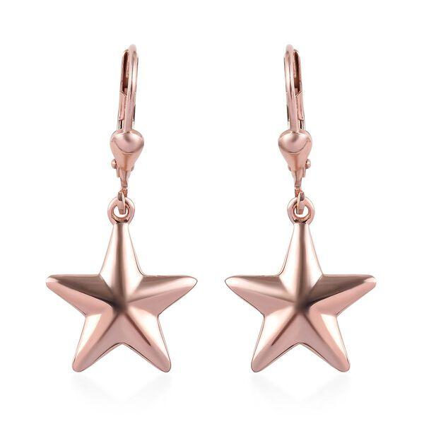 Rose Gold Overlay Sterling Silver Lever Back Star Earrings