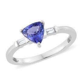 Rhapsody AAAA Tanzanite (0.70 Ct) and Diamond 950 Platinum Ring  0.750  Ct.