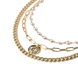 Simulated Pearl Three Layer Necklace (Size 16 with 4 inch Extender) in Gold Tone