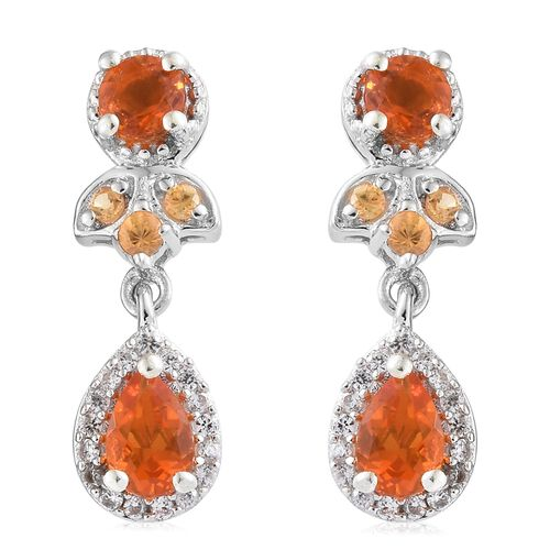 Jalisco Fire Opal (Pear and Rnd), Natural Cambodian Zircon and Orange Sapphire Earrings (with Push Back) in Platinum Overlay Sterling Silver 1.250 Ct.