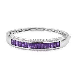 10.75 Ct AAA Amethyst and Cambodian Zircon Bangle in Platinum Plated Sterling Silver 26.57 Grams