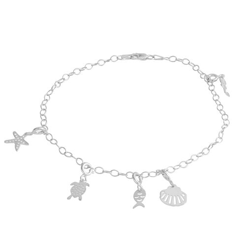 Sterling Silver Anklet (Size 10) with Multi Charm, Silver wt 3.40 Gms