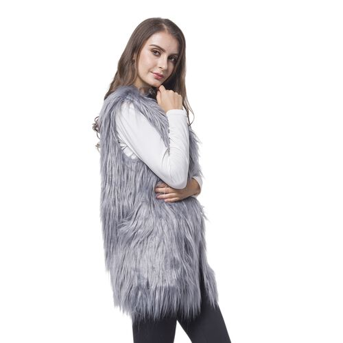 Designer Inspired Super Soft Grey Colour Faux Fur Gilet (Size 65X50 Cm)