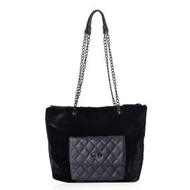 Faux Fur Tote Bag with Front Quilted Pattern Pocket and Zipper Closure (Size 33x27.5x12 Cm) - Black