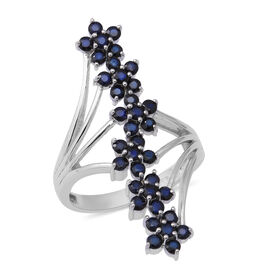 AA Kanchanaburi Blue Sapphire Floral Crossover Ring in Rhodium Overlay Sterling Silver 2.37 Ct, Silv