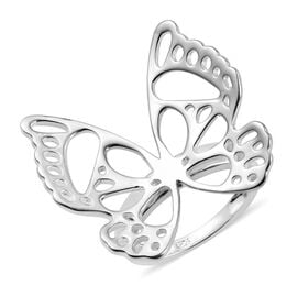 Designer Inspired - Sterling Silver Monarch Butterfly Filigree Ring (Size M), Silver wt 5.28 Gms
