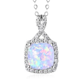 ELANZA Simulated White Opal and Simulated Diamond Halo Pendant With Chain in Rhodium Plated Silver