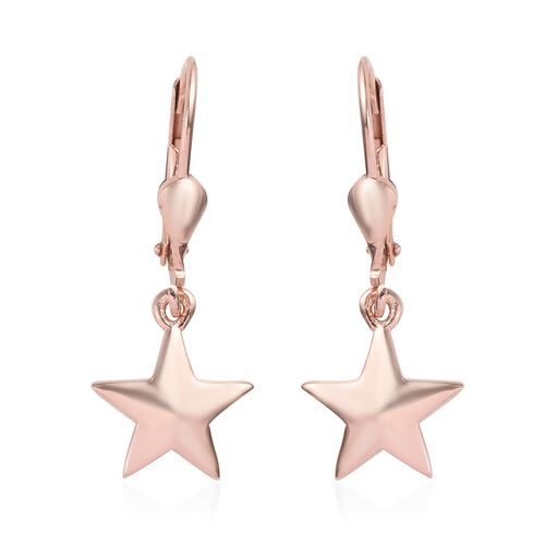 Rose Gold Overlay Sterling Silver Star Lever Back Earrings, Silver wt 2.68 Gms