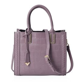 100% Genuine Leather Purple Colour Tote Bag (Size 27.5x12x24 Cm) with Detachable Shoulder Strap