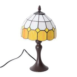 Home Decor - Tiffany Style Table Lamp with Handcrafted Stained Glass - Light Orange and Ivory White