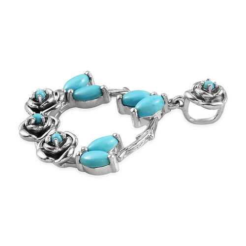 Arizona Sleeping Beauty Turquoise Floral Pendant in Platinum Overlay Sterling Silver 1.75 Ct, Silver wt 5.20 Gms