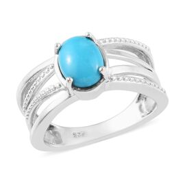 Arizona Sleeping Beauty Turquoise (Ovl 8x6mm) Criss Cross Ring in Platinum Overlay Sterling Silver 1