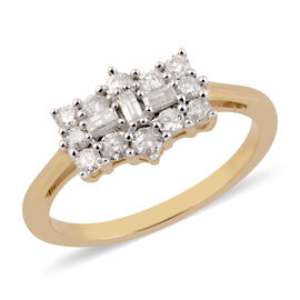9K Y Gold SGL Certified Diamond (I3/G-H) Cluster Boat Ring 0.500 Ct.
