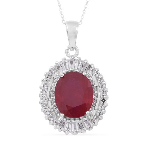 African Ruby (Ovl 6.80 Ct), White Topaz Pendant with Chain in Rhodium Plated Sterling Silver 8.250 Ct.