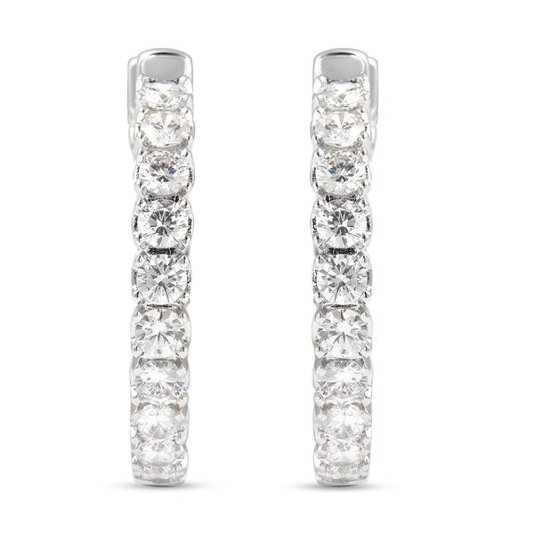 Simulated White Diamond Hoop Earrings in Silver Tone