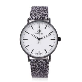STRADA Japanese Movement Water Resistant Watch with Grey Colour Leopard Pattern Mesh Chain Strap