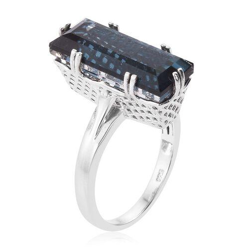 Indicolite Quartz (Bgt) Ring in Platinum Overlay Sterling Silver 10.500 Ct.