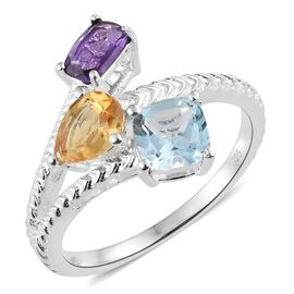 Amethyst (Cush), Sky Blue Topaz and Citrine Ring in Sterling Silver 2.250 Ct.