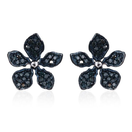 Kimberley Forget Me Not Collection - Blue Diamond (Rnd) Floral Stud Earrings (with Push Back) in Platinum Overlay Sterling Silver 0.500 Ct.