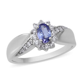 Tanzanite (Ovl 6x4mm), Natural Cambodian Zircon Ring in Rhodium Overlay Sterling Silver