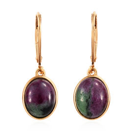 Ruby Zoisite (Ovl 10x8 mm) Lever Back Earrings in 14K Gold Overlay Sterling Silver 7.25 Ct.