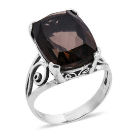 Royal Bali Collection Brazilian Smoky Quartz (Cush 18x14 mm) Solitaire Ring in Sterling Silver 13.70