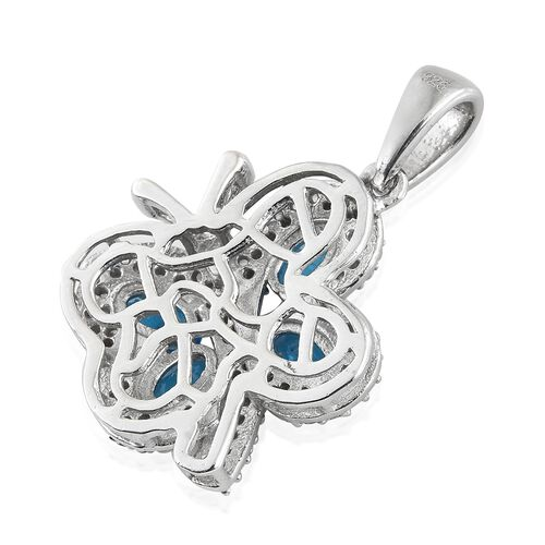 AA Malgache Neon Apatite (Ovl), Natural Cambodian Zircon Butterfly Pendant in Platinum Overlay Sterling Silver 1.750 Ct. Number of Gemstone 102