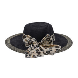 Thomas Calvi Summer Hat with Bow - Black and Coffee