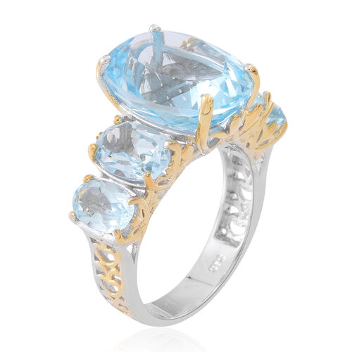 Rare Size Sky Blue Topaz (Ovl 11.20 Ct) 5 Stone Ring in Rhodium Plated Sterling Silver 16.000 Ct. Silver wt 6.20 Gms.