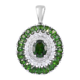 6.75 Ct Russian Diopside and Cambodian Zircon Halo Pendant in Platinum Plated Sterling Silver 5.9 Gr