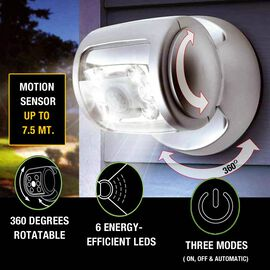 Rotating Wireless LED Porch Light with Built-in Motion and Photo Sensor and Three Light Modes (Size