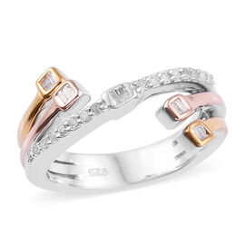 Diamond (Bgt and Rnd) Bypass Ring in Platinum, Rose and Yellow Gold Overlay Sterling Silver 0.200 Ct