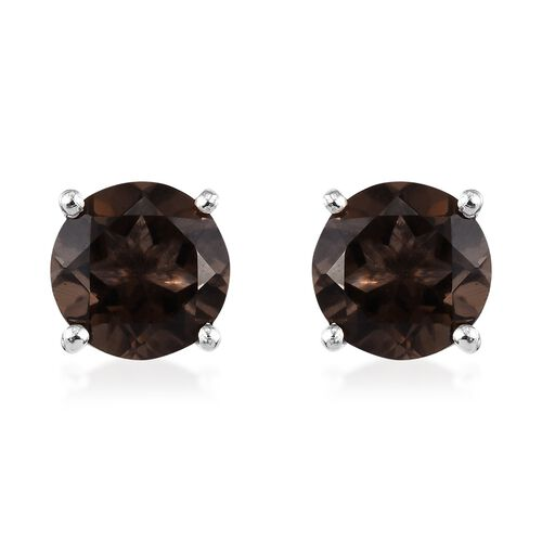 AA Brazilian Smoky Quartz (Rnd) Stud Earrings (with Push Back) in Platinum Overlay Sterling Silver 2