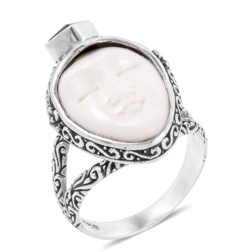 Princess Bali Collection OX Bone Carved Face and Russian Diopside Ring in Sterling Silver 5.690 Ct. Silver wt 6.72 Gms.