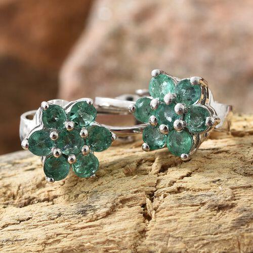 Kagem Zambian Emerald (Rnd) Flower Clip On Earrings in Platinum Overlay Sterling Silver 1.250 Ct.