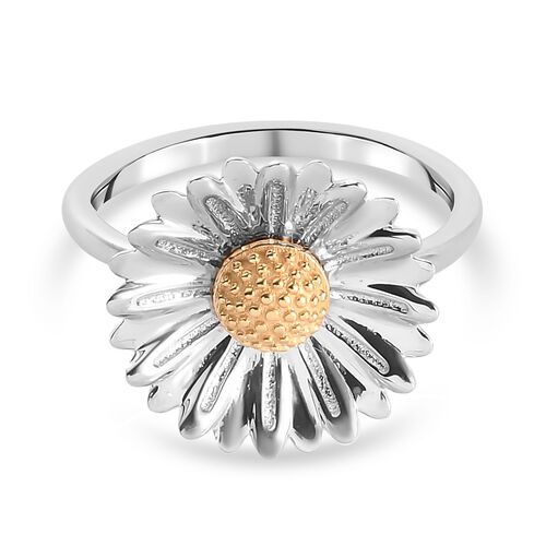 Platinum and Yellow Gold Overlay Sterling Silver Sunflower Ring