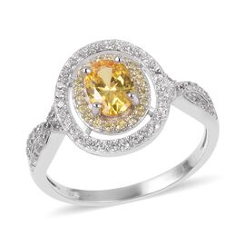 ELANZA Yellow Cubic Zirconia and Simulated Diamond Halo Ring in Rhodium Plated Sterling Silver