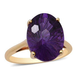 Lusaka Amethyst Solitaire Ring in Yellow Gold Overlay Sterling Silver 9.89 Ct.