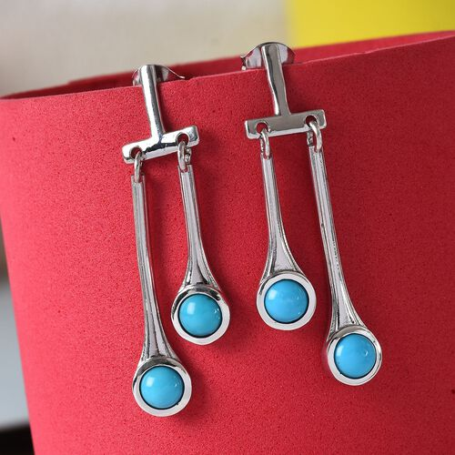 Arizona Sleeping Beauty Turquoise Earrings in Platinum Overlay Sterling Silver 2.00 Ct, Silver wt 5.68 Gms