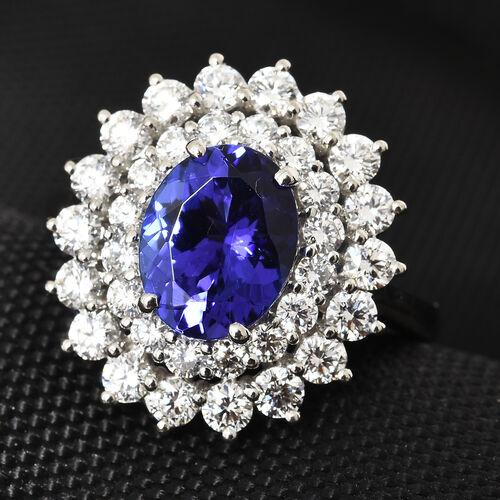 RHAPSODY 950 Platinum AAAA Tanzanite (Ovl 2.65 Ct), Diamond Ring  4.205 Ct, Platinum wt 8.65 Gms.