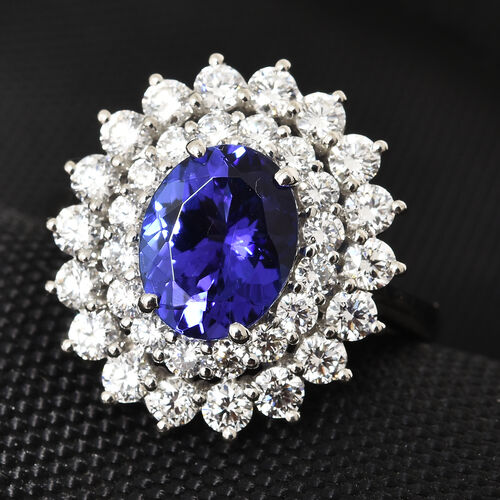 Limited Available- RHAPSODY 950 Platinum AAAA Tanzanite (Ovl 9.5x7.5 mm, 2.75 Ct), Diamond (VS/E-F) Halo Ring 4.250 Ct, Platinum wt 9.01 Gms.
