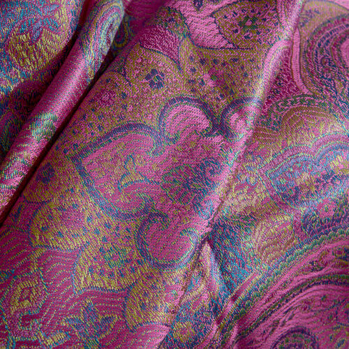 SILK MARK - 100% Superfine Silk Orchid Pink, Blue and Multi Colour Paisley and Floral Pattern Reversible Jacquard Jamawar Scarf with Tassels (Size 190X70 Cm)