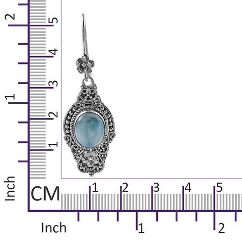 Handmade Larimar (Ovl 8x6) Hook Earrings in Sterling Silver 3.0 Ct, Silver wt 11.30 Gms